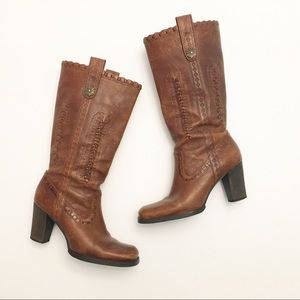 Gianni Bini Rustic Italian Leather Brown Boots